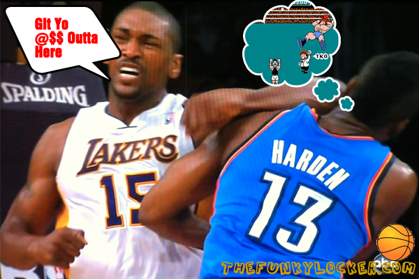 Metta World Peace Knocks Out James Harden